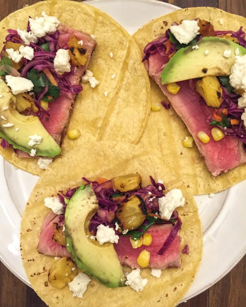 grilled ahi tuna tacos