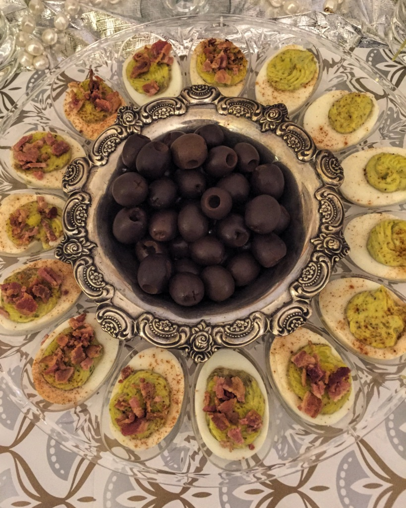 deviled eggs and olives