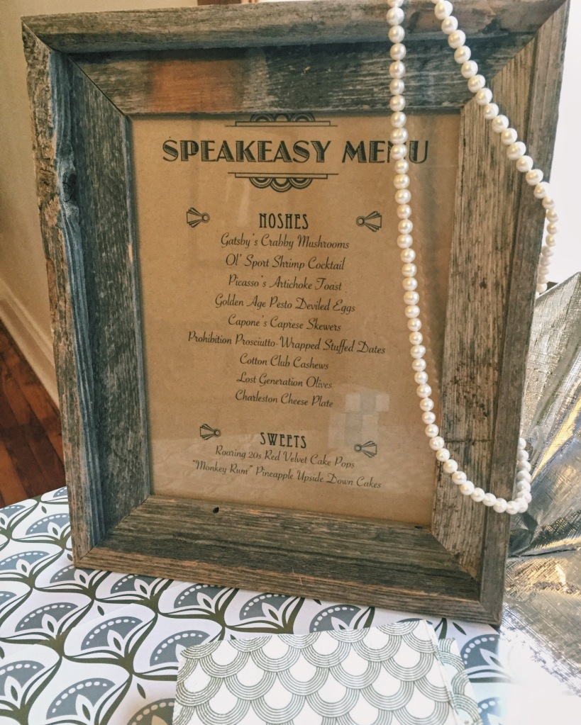 Speakeasy 1920s Menu
