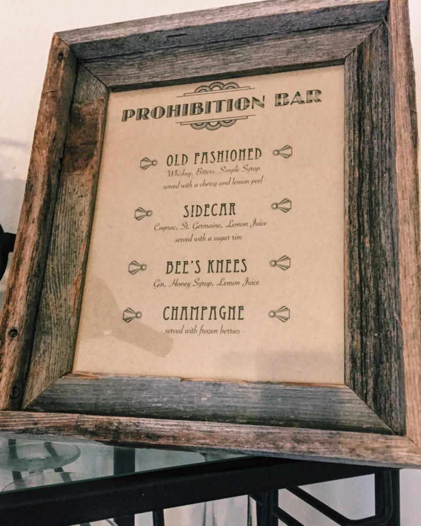 Prohibition Bar Menu