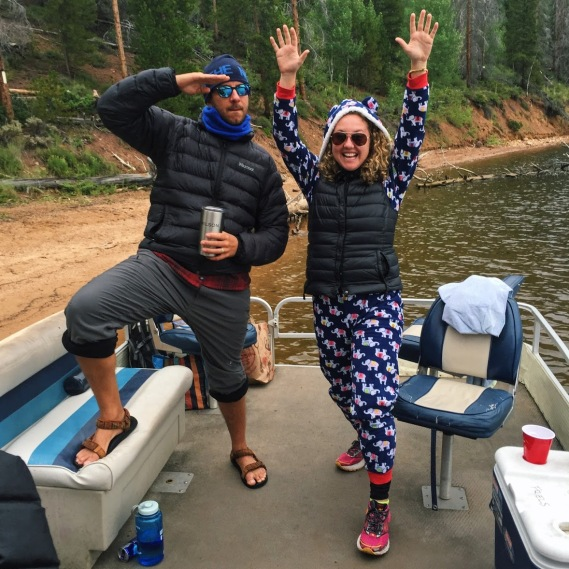 Onesie on a pontoon