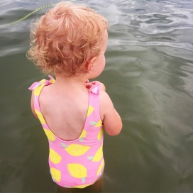 swims in the lake